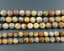 Natural Crazy Agate Beads Yellow Gemstone Faceted Round Beads 4mm 6mm 8mm 10mm