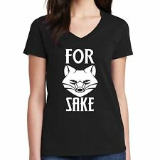For Fox Sake Women V Neck Short Sleeve T-Shirt Party Funny Tee Cotton S-2XL