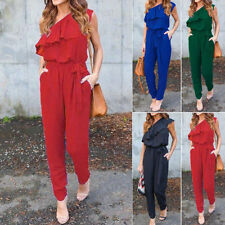 Summer Womens One shoulder Chiffon Trousers Jumpsuit Romper Long Pants Slacks HU