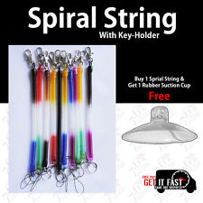 LOT SPIRAL STRING KEY RING/CHAIN AND BELT CLIP ASSORTED COLOURS MAX LENGTH 20CM