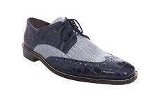 Stacy Adams Giordano Mens Blue Contrast Croc Print Wingtip Leather Dress Shoes