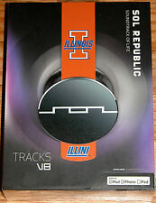 SOL REPUBLIC TRACKS V8 HEADPHONES BLACK, RED, UNIVERSITY OF ILLINOIS ILLINI -NEW