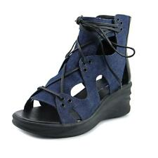 Elie Tahari Street Women  Open Toe Canvas Blue Wedge Sandal