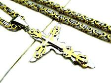 Stainless Steel Gold Silver Flame Blaze Cross Byzantine Link DIY Chain Necklace