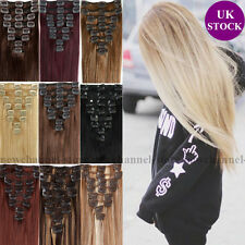 UK Remy Hair Clip in Hair Extensions Real Human Hair Full Head 90-120g Any Color