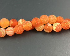 Wholesale Gemstone Frosted Agate Beads Matte Round Beads Orange 8mm 10mm 12mm