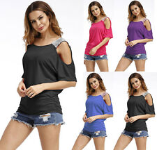 Womens Summer Tee Shirt Cold Shoulder Tops Blouse Lady Loose Solid Cut Out Shirt