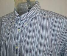 New TOMMY HILFIGER Mens L/S Casual Shirt Sz XL or 2XL Gray Blue White Stripe NWT