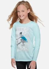 NWT Figure Skating Dance T Shirt Tee Ice Blue Leotard Justice Girl 7 20