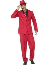 Mens 40's Red Zoot Suit 20's Spiv Gangster Fancy Dress 01-44891