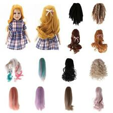 Sraight/Curly Neat/Inclined Bang Wigs DIY Hair Fit American Girl Doll Accessory