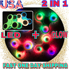 TRI SPINNER FIDGET LED & GLOW 2 IN 1, Stress Hand Desk Toy EDC ADHD Autis,LOT