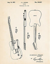 1951 Fender Telecaster Art Patent Drawing Presents Gifts For Guitar Players