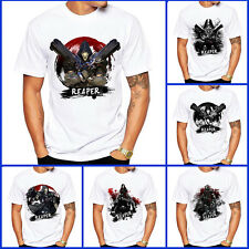 New Overwatch OW Short Sleeves Coat Top Tee T-shirt Cosplay Reaper Gabriel Reyes