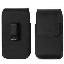 REIKO Vertical Leather Carrying Swivel Belt Clip Case Holster for CAT Cell Phone