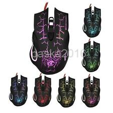 Gaming Mouse Optical Wired USB Mice Adjustable DPI Switch with 6Buttons 7LED