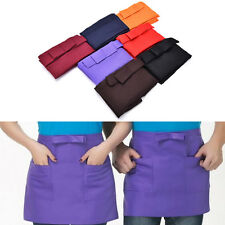 Kitchen Cotton Bow Short Half Waist Apron Bar Pub Cafe Server Waiter WaitressGVU
