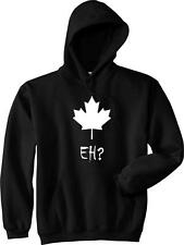 EH? CANADA Maple Leaf Funny Canadian College Hockey Vintage Hoodie NEW - Black