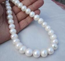 Natural huge 12.5-14.2mm White south sea Pearl Necklace 18inch 14k FREE+ earring
