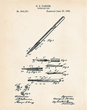 1898 Parker Fountain Pen Patent Art Print Gifts For Writers Presents Writer