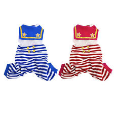 Pet Puppy Sailor Striped Overall Bib Pants Jumpsuit T-shirt Outfits Dog Clothes