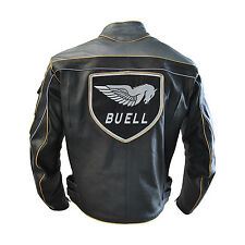New Men Buell Motorcycle racing Split leather jacket / Men Buell Leather Jacket