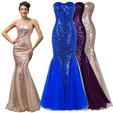 2017 New Sequined Mermaid Wedding Bridesmaid Prom Dress Formal Long Evening Gown