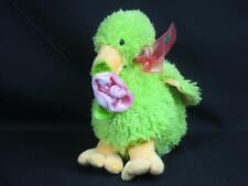 "NEON LIMEGREEN YELLOW BABY DUCK DUCKLING SWAN HOLDING FLOWER ROSE PLUSH 9"" TOY"