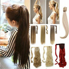 Real Clip in Hair Extension As Human Pony Tail Wrap Around Ponytail Black Blonde