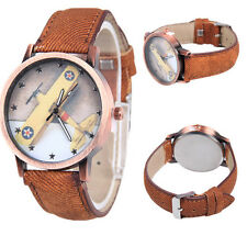 Quartz Unisex 1Pcs Canvas Wrist Watch Femmes Retro Analog Stars Airplane Watch