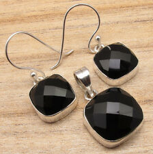 925 Sterling Silver Plated Earrings & Pendant SET, Authentic Gemstone Jewelry