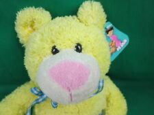NEW MI OSITO  YELLOW TEDDY BEAR BLUE CHECKERED HEART BOW PLUSH STUFFED ANIMAL