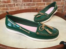 Isaac Mizrahi Kelly Green Patent Boat Deck Shoes Flats New