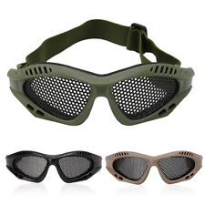Tactical Airsoft Eye Protection Goggles Shooting Anti Fog Metal Mesh Glasses
