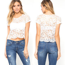 Lace Short Sleeve Casual 1x Blouse Women Floral 1Pcs Perspective Tee
