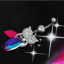 Stainless Steel Owl Leaves Rhinestone Piercing Navel Button Belly Ring Body 1Pcs
