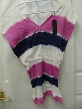 Romeo & Juliet Couture Tie Dye Fringe Bottom Shirt NVWHHP - NWT