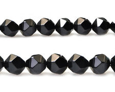 Natural Black Onyx Gemstone Beads Nugget Diamond Faceted Beads 6mm 8mm 10mm 15''
