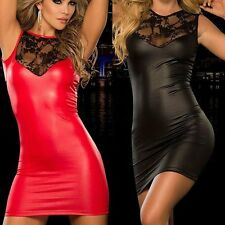 Womens Sexy Lace PU Leather Bodycon Dress Wet Look Fetish Bondage Night Clubwear
