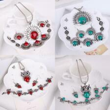 Jewelry Set Silver Red Green Turquoise Owl Peacock Necklace Earrings Bracelet