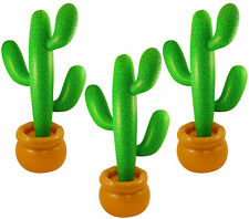 PACK OF 3 JUMBO INFLATABLE CACTUS 86 CM MEXICAN SCENE SETTER PARTY DECORATION