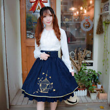 Japanese Lolita Skirts Girl in a Cage Classical Stripe Bud Silk Embroidery Dress