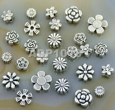 50Pcs Tibetan Silver Carved Flower Round Coin Connector Space Charm Beads Craft