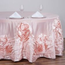 """120"""" Large Raised Roses Lamour Satin Round Tablecloth Decoration Supplies Dinner"""