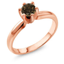 0.46 Ct Round Brown Smoky Quartz 18K Rose Gold Plated Silver Ring