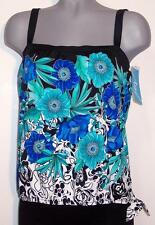 NWT Azul Tankini Top Swimwear Built-In Padded Bust Support Size 12 14 Blue Multi