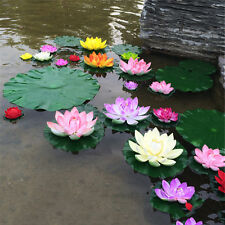 Artificial Lotus Water Lily Floating Flower Pond Tank Home Plant Ornament 1pc