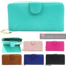 LADIES NEW FAUX LEATHER CARD SLOTS PHOTO WINDOW LARGE WALLET PURSE