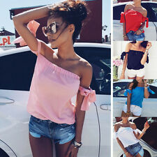 Sexy Women Bandage Tied Up Sleeve Off Shoulder Wrapped Chest Shirt Top Blouses
