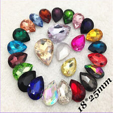 18x25mm Teardrop Rhinestones Point back Crystals Glass Pear Strass Chatons 8ps